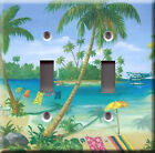 Light Switch Plate Cover - Beach vacation - Travel seashore palm sand airplane