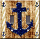Light Switch Plate Cover - Sailor anchor starry back brown - Rope boat sea deco