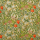 William Morris Golden Lily Unlined Curtains with Pencil Pleat (pairs)