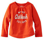 OshKosh Girls Red Long Sleeve Top with Foil Graphic & Heart Elbow - Toddler