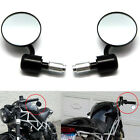 """Black Universal Motorcycle 3"""" Round 7/8"""" Handle Bar End Rearview Side Mirrors"""