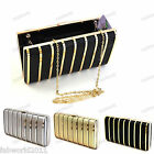 BLACK GOLD SILVER Satin Metallic Strip Hard Case Clutch Bag #463