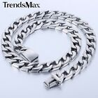 13MM Boys Mens Chain Curb Link Silver Tone 316L Stainless Steel Necklace 18-36""