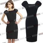 Womens V-Neck On Back Short Sleeve Above-Knee Tunic Concise  Pencil Dress
