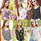 Women Sleeveless Rose Floral Printed Chiffon Vest Tank Tops Blouse Tshirt S-XXXL