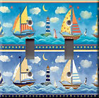 Light Switch Plate Cover - Sailboats lighthouse - Boats water waves stars moon