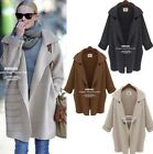 Womens Turn-down Collar Long Sleeve Loose Knitted Sweater Cardigan Coat Outwear