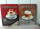 VINTAGE METAL SIGNS WALL HANGING CAFFE LATTE & CAPPUCCINO  KITCHEN COFFEE SHOP
