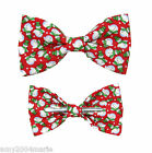 Christmas Holiday Red Snowman Clip On Bow Tie