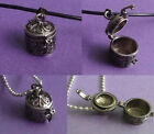 Antique Silver Wish Box Locket Pendant Necklace chain  leather Ladies Girls Gift