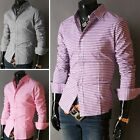 Plaid Men's Casual Button-Down Slim Fit Long Sleeve Casual/Formal Dress Shirts D