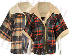 F10 NEW WOMENS FAUX FUR LADIES CHECK TARTAN CAPE PONCHO IN PLUS SIZE 08-20.