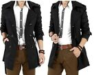 Amazing Men's Slim Vintage Double Breasted Leisure Long Jacket Overcoat Hot Sell