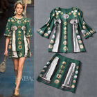 New Season Catwalk Vintage Ruslana Kurshunova Gold Coin Print Twin Set Dress
