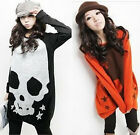 Womens Casual  Wild Knitted Long Sleeve Skull T-shirt Sweater Hoodie Top Blouse