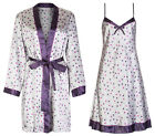 Marks & Spencer Womens Satin Chemise Nightdress & Gown Set M&S Silky Spotty Gift