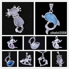 New Owl Cat Animal Crystal Amethyst 925 Sterling Silver Pendant Fit Necklace