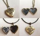 Vintage Bronze Necklace or Leather Pendant  Rose  Heart  Locket Ladies Gift