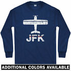 Fly New York JFK Airport Long Sleeve T-shirt - NYC Kennedy Jet - LS Men / Youth $29.99 USD on eBay