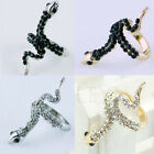 Lady Snake Animal Punk Rhinestone Alloy Gothic Plated Gold Silver Rolling Ring C