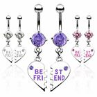 """Pair of """"Best Friend"""" Charm Pendent Dangle Belly Bars 316L Surgical Steel"""