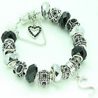 BLACK SILVER CHARM BRACELET PERSONALISED ANY INITIAL LADIES BIRTHDAY XMAS GIFT