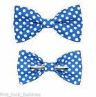 Blue With White Dots Clip On Bow Tie Men / Boys