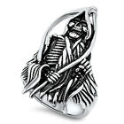 Stainless Steel Grim Reaper Black Oxidized Death Soul Wide Biker Ring Size 8-17