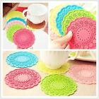 coasters 6 Colors home hollow lace Flower silicone Nonslip coasters  A207
