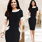 Party Patch Work Bodycon Womens Vintage Rockabilly Cotton Work Pencil Dress