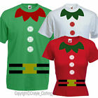 Fancy Dress CHRISTMAS ELF t-shirt party costume SANTA'S LITTLE HELPER All Sizes