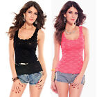 Sexy Double Layered Floral Lace Singlet Top Club Party Wear 5116 One Size