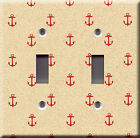 Light Switch Plate Cover - Anchors pattern red - Motif boat ship navigation sail