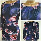 NEW KALIKO TEA DRESS SHIFT PURPLE NAVY PINK FLORAL CHIFFON WEDDING SIZE 8 - 20