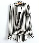 Lady Sexy V Neck Long Sleeve No Button T-Shirt Black&White Stripes Lapel Tops