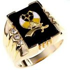 Mens 14k Gold Electroplated 2(ct) 3 Stone Shriners Ring