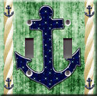 Light Switch Plate Cover - Sailor anchor starry back green - Rope boat sea deco