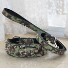 Camouflage Leather Dog Collar&Leash Set Studded Collar PitBull Husky Terrier