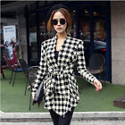 Lady Women Long Sleeve Knit Houndstooth Print Jacket Outerwear Coat Cardigan