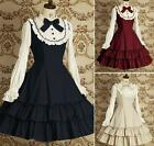 Ladies Sweet Long Sleeve Layered Cosplay Lolita Dress Costume Red/Navy/Apricot