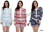 Ladies Fleece PlaySuit Onesie Aztec Fair Isle Navy Blue Red Size8 10 12 14 16 18