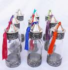 NEW GLASS SILVER BOTTLE PERFUME DECORATIVE MOROCCAN COSMETIC SPICES SHAMPOO GIFT