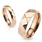 316L Stainless steel Diamond Faceted Rose Gold IP Band Ring 6mm wide size 9 - 13