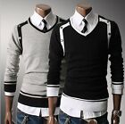 New Fashion Men Casual Slim Fit V-neck Knit Cardigan Pullover Jumper Sweater Top