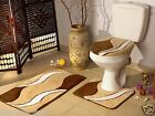 Bath Mat Toilet Set 3 piece - Non-Slip Bathroom Pedestal Toilet Mat 2 Piece NEW