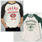 Junk Food NFL t-shirt Green Bay PACKERS Rookie Raglan FLOCKING Print NEW SALE