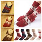 5Pairs Comfortable Christmas Snow flake Deer Design Womens Wool Socks Warm