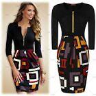 Women Vintage Evening Party Business Work Casual Wear Contrast Pencil Slim Dress