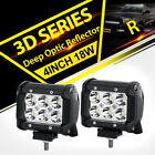 2x 4inch 18W CREE LED LIGHT BAR WORK FLOOD SPOT LAMP OFFROAD BOAT UTE CAR TRUCK