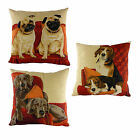 Lounging Dogs Tapestry effect filled cushions with adorable dogs, 18 inch x 1...